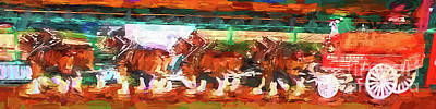 Digital Art - Clydesdales At Busch Stadium by John Freidenberg