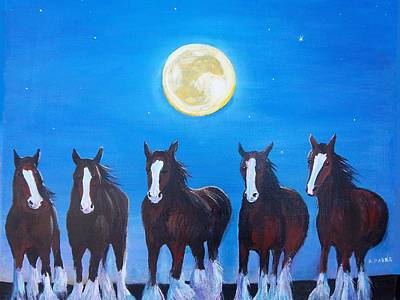 Painting - Clydesdales In Moonlight by Aleta Parks