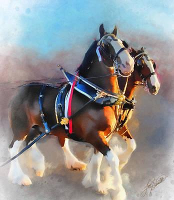 Tom Schmidt Painting - Clydesdales by Tom Schmidt