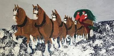 Painting - Clydsdale Horses Bringing Home The Tree by Donald J Ryker III