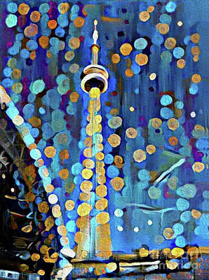 Photograph - Cn Tower In Bokeh Photo Painting by Nina Silver