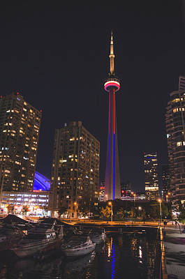 Photograph - Cn Tower Toronto From Marina At Night by Jeff at JSJ Photography