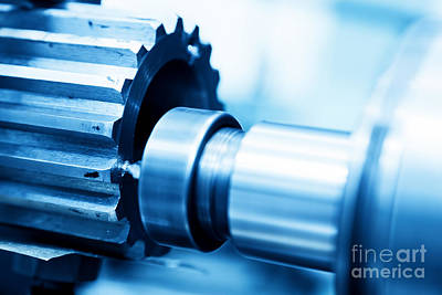 Food And Flowers Still Life - CNC drilling and boring machine at work close-up by Michal Bednarek