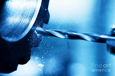 Iron Photograph - Cnc Turning Drilling And Boring Machine At Work Close-up by Michal Bednarek