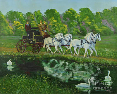 Carriage Driving Painting - Coach And Four In Hand by Charlotte Blanchard