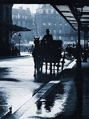 Photograph - Coach At Gare St. Lazare, Paris, Ca. 1905 by Vintage Printery