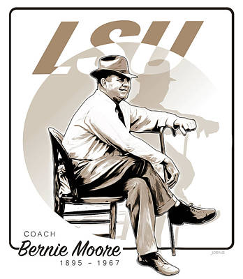Louisiana State University Digital Art - Coach Bernie Moore by Greg Joens