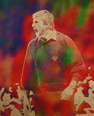 Knight Mixed Media - Coach Bobby Knight Watercolor Portrait by Design Turnpike