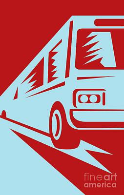 Coach Bus Coming Up Art Print by Aloysius Patrimonio