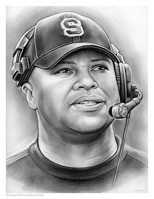 Football Drawing - Coach David Shaw by Greg Joens