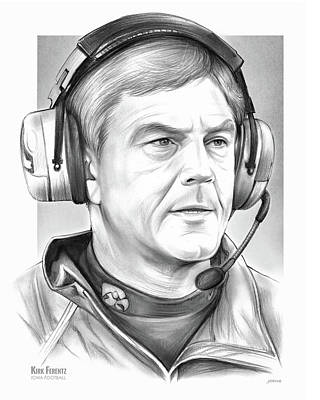 Football Drawing - Coach Kirk Ferentz by Greg Joens