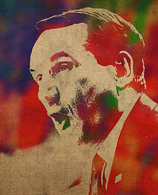 Duke Mixed Media - Coach Mike Krzyzewski Watercolor Portrait by Design Turnpike