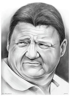 Sports Drawings - Coach Orgeron by Greg Joens