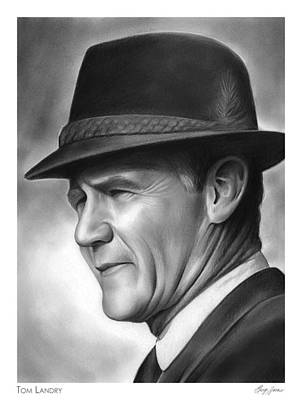 Sports Drawings - Coach Tom Landry by Greg Joens