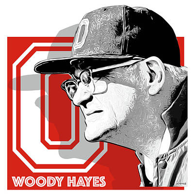 Clemson Digital Art - Coach Woody Hayes by Greg Joens