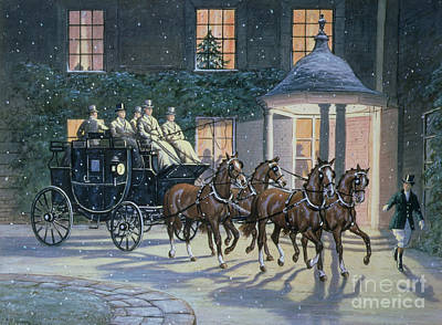 Winter Scene Painting - Coaching At Hurlingham by Ninetta Butterworth