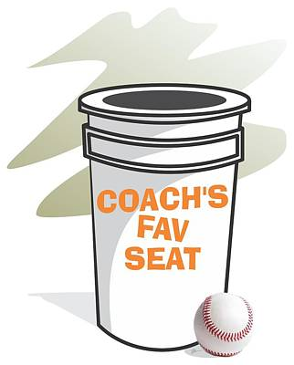 Softball Drawing - Coach's Favorite Seat by Jerry Watkins