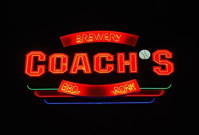 Photograph - Coach's Oklahoma City Neon Sign by Matt Harang