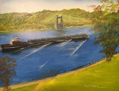 Painting - Coal Barges On The Ohio by David Bartsch