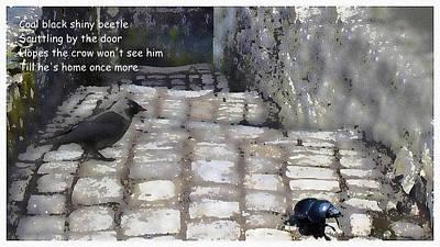 Digital Art - Coal Black Shiny Beetle by Al G Smith