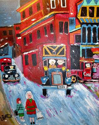Litvack.old Cars Painting - Coal Delivery 1943 St. Antoine/victoria Square Griffintown by Michael Litvack