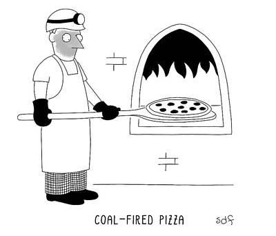Drawing - Coal Fired Pizza by Seth Fleishman