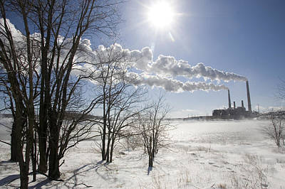 Coal Fired Power Plant In Winter Art Print by Skip Brown