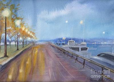 Coal Harbor At Night Art Print by Yohana Knobloch