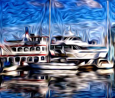 Digital Art - Coal Harbour Boats  by Julius Reque
