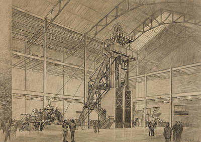 Person Drawing - Coal Mine Hoist by Percy Hale Lund
