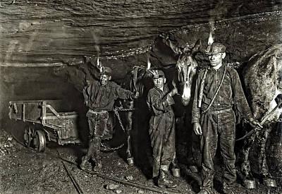 Coal Mine Mule Drivers  1908 Art Print by Daniel Hagerman