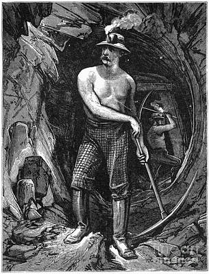 Barechested Photograph - Coal Miner, 19th Century by Granger