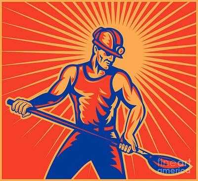 Coal Miner At Work With Shovel Front View Art Print by Aloysius Patrimonio