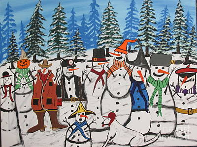 Painting - Coal Miner Snowman by Jeffrey Koss