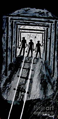 Light Shaft Painting - Coal Miners At Work by Jeffrey Koss