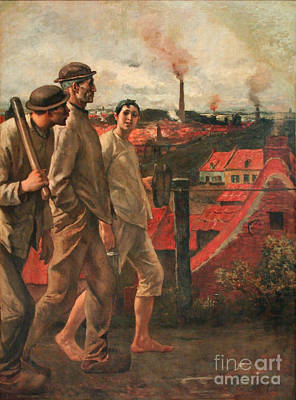 Miners Painting - Coal Miners by Celestial Images
