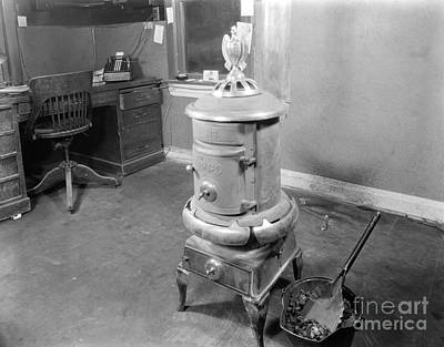 Coal Stove Heater In Business Office Art Print