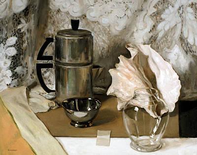 Painting - Vintage Aluminum Coffeepot, Lace Tablecloth And Conch Shell by Robert Holden