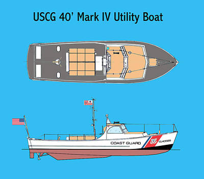 Uscg Drawing - Coast Guard 40 Foot Utility Boat by Jerry McElroy