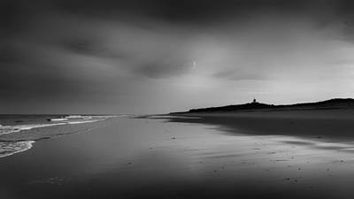 Photograph - Coast Guard Beach Sunset Bw by Bill Wakeley