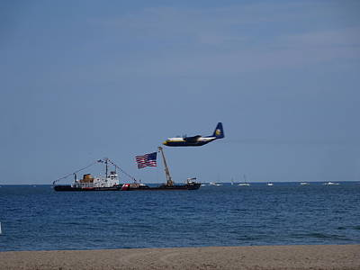 Photograph - Coast Guard Boat Meets Plane by Red Cross
