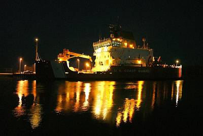 Coast Guard Cutter Mackinaw At Night Art Print by Keith Stokes