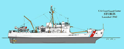 Coast Guard Drawing - Coast Guard Cutter Storis by Jerry McElroy