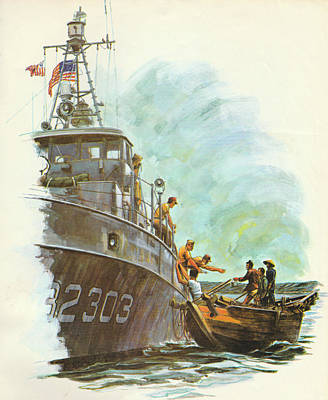 Mlb Art Painting - Coast Guard In Vietnam by Jerry McElroy