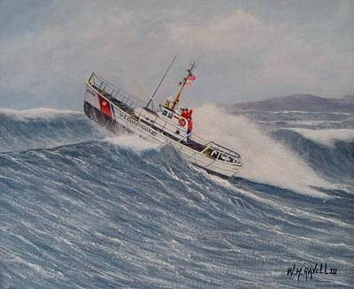 Coast Guard Painting - Coast Guard Motor Lifeboat Intrepid Version 2 by William H RaVell III
