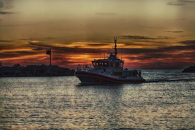 Photograph - Coast Guard Patrol At Dusk by Christopher Purcell