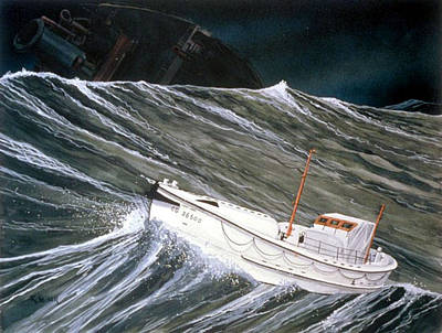 Cape Cod Painting - Coast Guard Rescue Of The Pendleton by Richard Kaiser