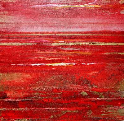 Abstract Seascape Mixed Media - Coast Series Red Am8 by Mike   Bell