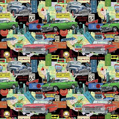 Drive-in Digital Art - Coast To Coast-b by Jean Plout