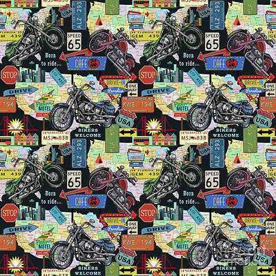 Drive-in Digital Art - Coast To Coast-d by Jean Plout